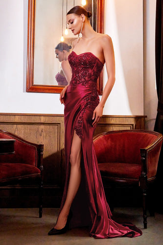 Satin Corset Bodice Evening Dress