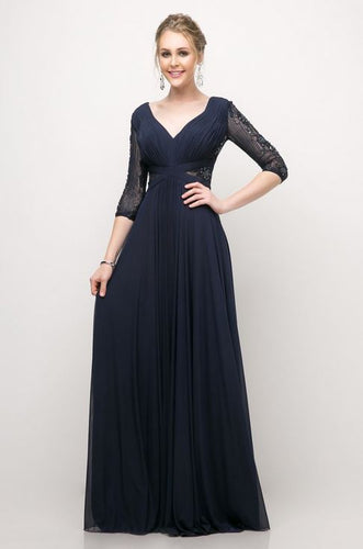 Long Sleeve Beaded Embroidered Chiffon Empire Waist Dress - Stage 9 Secrets - Dress