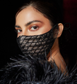 Black Beaded Lace and Satin Mask
