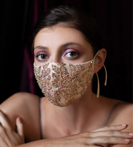 Pink Beaded Satin Mask