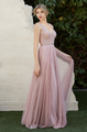 A-line pleated tulle gown with beaded bodice