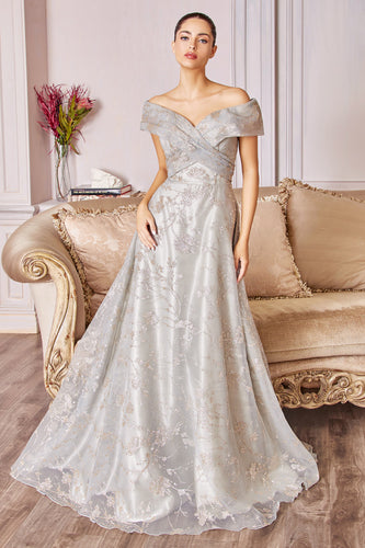 Off Shoulder Sage Evening Gown