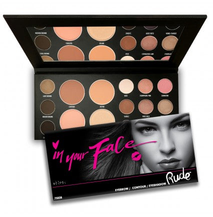 RUDE- In Your Face 3-in-1 Palette - Stage 9 Secrets - Cosmetics