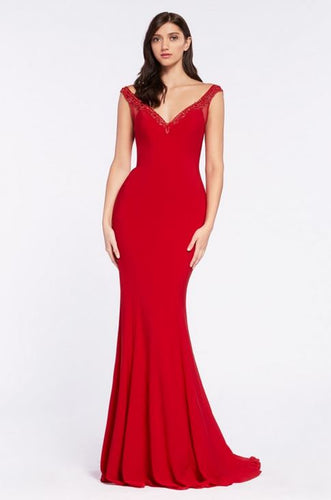 Off The Shoulder Gown With Beaded Neckline Trim and Keyhold Back - Stage 9 Secrets - Dress