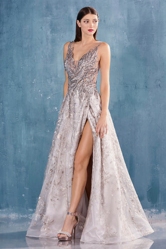 Lace and Rhinestone Silver Evening Ball Gown