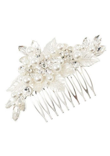 Silver Leaf with Pearls Hair Pin - Stage 9 Secrets - Jewellery