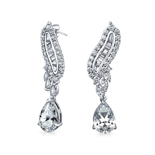 Silver Plated Baguette Statement Earrings - Stage 9 Secrets - Jewellery