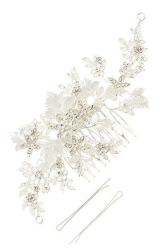 Silver Floral and Leaves Crystal Hair Jewlery - Stage 9 Secrets - Jewellery