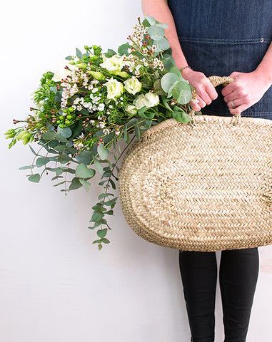 Flower Tote with Whites & Greens