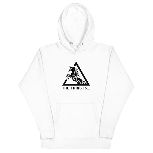 """The Thing Is..."" White Unicorn Hoodie"