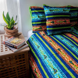 African print duvet cover & pillow set | African bedding | Ankara print bedding - Bed linens green, ankara