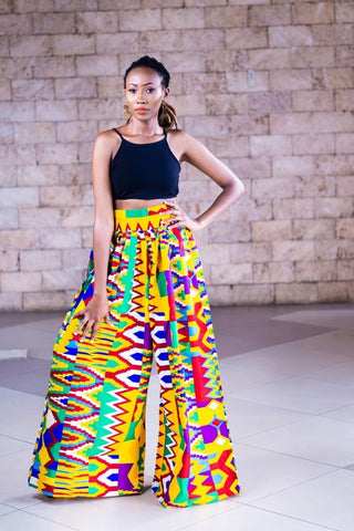 Kente print Chep Palazzo pants-[African Clothing]-[African Knowledge]-[Men's Clothing]-[Women's clothing]-Afreekha
