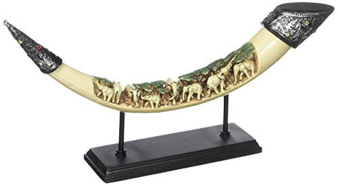 Lucky Elephants Tusk Sculpture Ivory African Art Decor, Furniture Creations, artifacts, Furniture Creations, Home, Interior Decor, spring, Statues, zon- All African Store