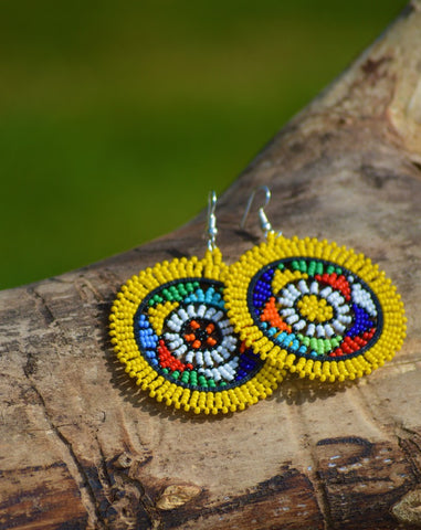 Yellow massai earrings, afreekha, Accessories, Afreekhan Queens, Earrings- All African Store