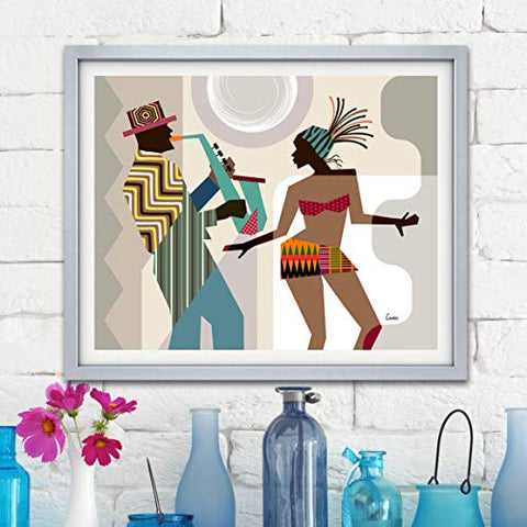 Jazz Music Painting Dance Art Home Decor African American Print Unframed, Afreekha, canvas, Interior Decor, Posters & Prints, spring- All African Store