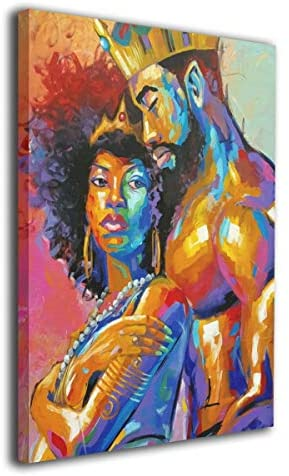 King African American Lovers Couple, Afreekha, canvas, Interior decor, spring- All African Store