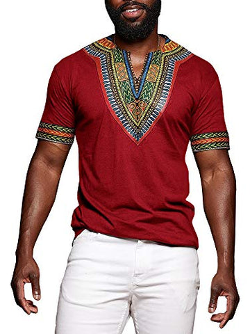 African Print Dashiki T-Shirt Tops Blouse-[African Clothing]-[African Knowledge]-[Men's Clothing]-[Women's clothing]-Afreekha