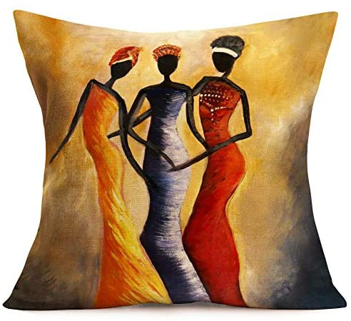 "Amazon.com: Royalours Throw Pillow Covers African Tribe Ethnic Series Cotton Linen Vintage Tribe Lady Art Painting Style Decorative Cushion Cases Outdoor Pillowcases Home Decor 18"" x18"" Set of 4 (African Women): Home & Kitchen-[African Clothing]-[African Knowledge]-[Men's Clothing]-[Women's clothing]-Afreekha"
