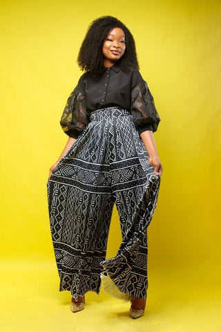 Bogolan trousers by le-pagne-wax - Flared pants and bootcut-[African Clothing]-[African Knowledge]-[Men's Clothing]-[Women's clothing]-Afreekha
