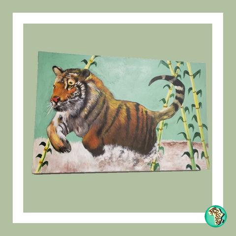 African Tiger Canvas, Afreekha, canvas, Interior Decor, spring- All African Store