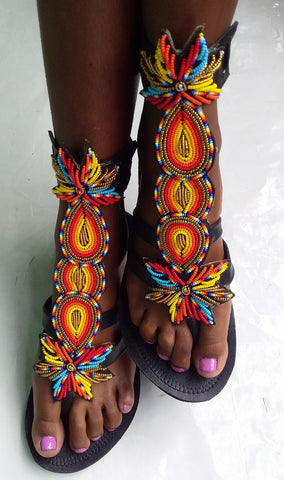 Gladiators/ Maasai beaded shoes/ leather sandals, afreekha, Afreekhan queens, krea, Queens shoes, urban- All African Store