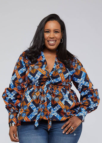 Chiamaka African Print Long Sleeve-[African Clothing]-[African Knowledge]-[Men's Clothing]-[Women's clothing]-Afreekha