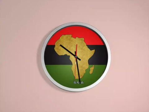 Panafrica wall clock-[African Clothing]-[African Knowledge]-[Men's Clothing]-[Women's clothing]-Afreekha