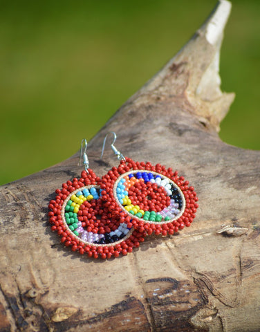 Massai earrings - Large hoop and ring earrings red for her