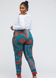 Safina African Print Fitted Stretch High-waisted Pants (Teal Orange Circles)