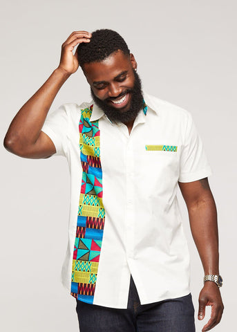 Tumelo African Print Appliqué Button-Up Shirt-[African Clothing]-[African Knowledge]-[Men's Clothing]-[Women's clothing]-Afreekha
