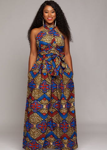 Ronke African Print Halter Maxi Dress (Red/Blue/Tan)-[African Clothing]-[African Knowledge]-[Men's Clothing]-[Women's clothing]-Afreekha