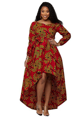 Afua African Print High-Low Off-Shoulder Maxi Dress (Yellow Red Swirls)-[African Clothing]-[African Knowledge]-[Men's Clothing]-[Women's clothing]-Afreekha