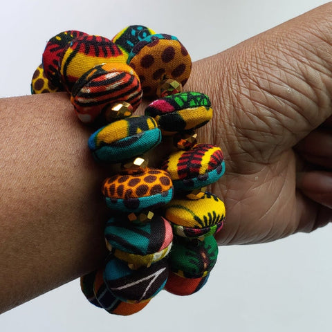 African Button Bracelet Set