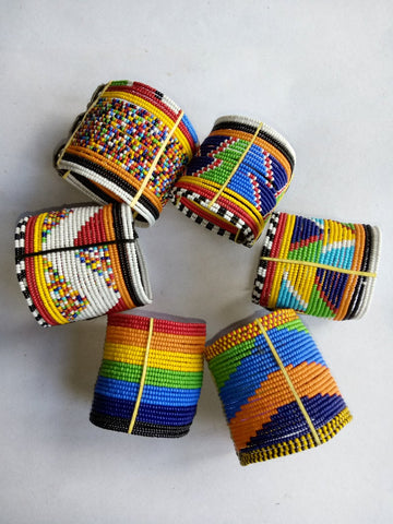 Set of 6 Maasai beaded bracelets