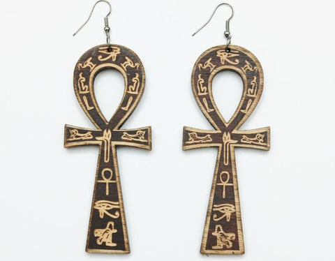 Ankh wooden earrings