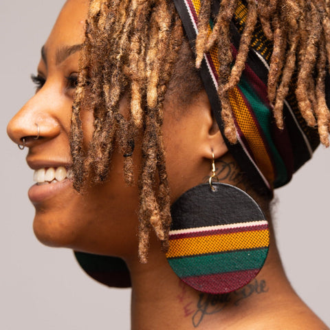 Big Kente Fabric Earrings