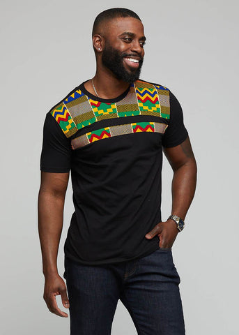 Kaleb African Print T- shirt ( Black/Green Yellow Kente)-[African Clothing]-[African Knowledge]-[Men's Clothing]-[Women's clothing]-Afreekha