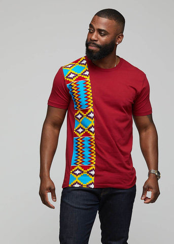 Kwau African Print T-Shirt (Marron/Sky Blue Yellow Kente)-[African Clothing]-[African Knowledge]-[Men's Clothing]-[Women's clothing]-Afreekha
