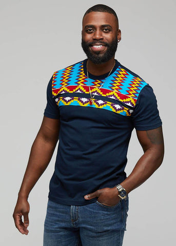 Kaleb African Print T- shirt ( Navy/Sky Blue Yellow Kente)-[African Clothing]-[African Knowledge]-[Men's Clothing]-[Women's clothing]-Afreekha
