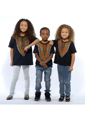 Kid's African Print Dashiki T-Shirt (Black)-[African Clothing]-[African Knowledge]-[Men's Clothing]-[Women's clothing]-Afreekha