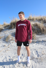 "Load image into Gallery viewer, MAROON ""TRIPLE ARCH"" LONG-SLEEVE"