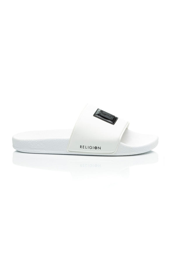 RELIGION Badge White Sliders