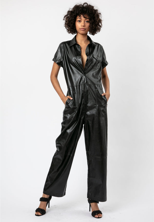 RELIGION Destination Black Faux Leather Jumpsuit
