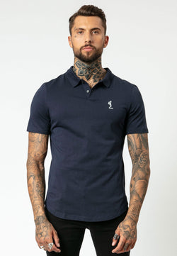 RELIGION Curved Hem Classic Navy Polo