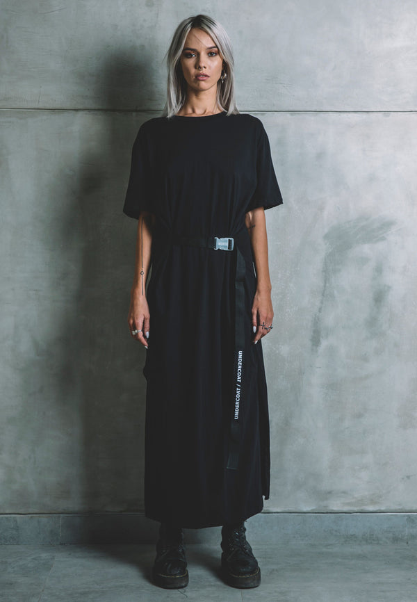 UNDERCOAT Belted Black Longline Dress