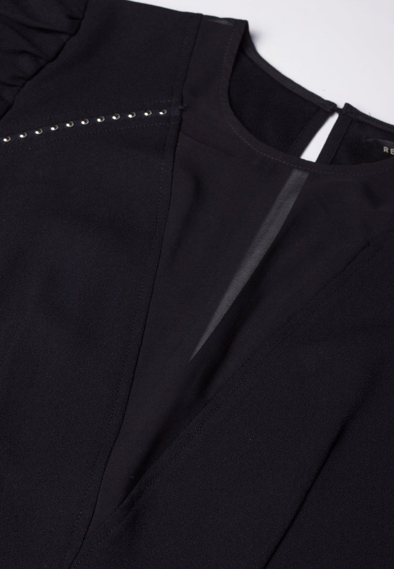 RELIGION Journey V-Neck Panel Black Dress