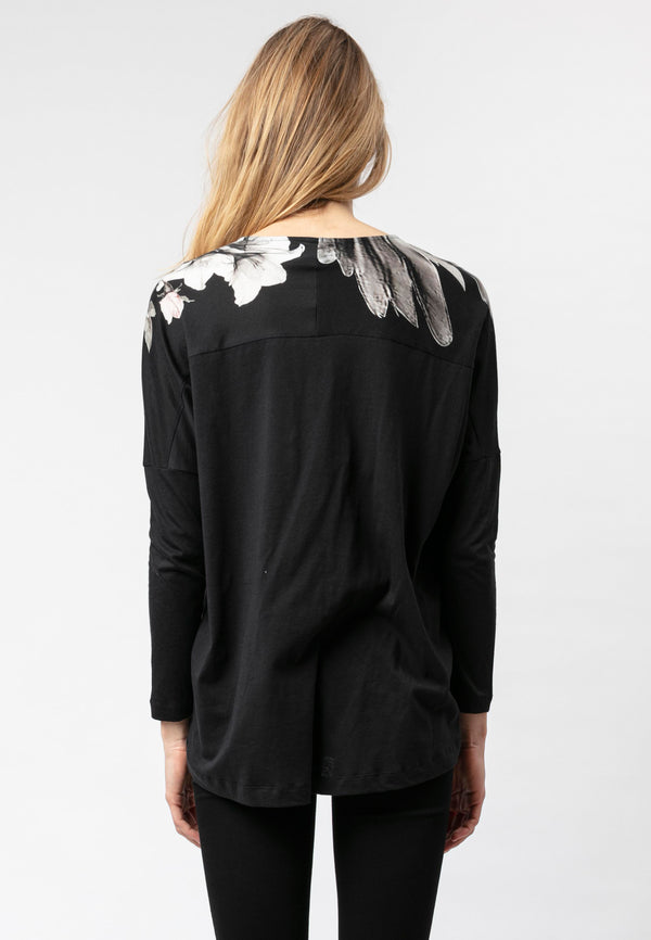 RELIGION Wings Graphic Print Black Top