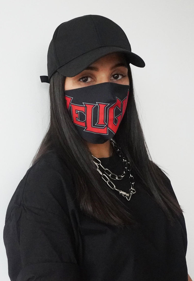 RELIGION Face Mask Black & Red Print