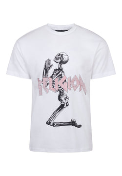 RELIGION Platinum Skeleton Graphic White T-Shirt