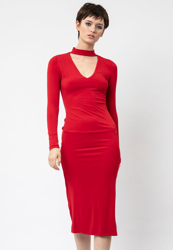 RELIGION Strength High Neck Red Midi Dress